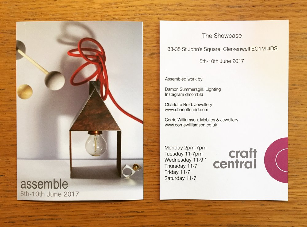 Come and see work on show at 'assemble' from 5th-10th June 33-35 St Johns street EC1M 4DS . Lighting design by Damon Summersgill, Jewellery and Mobiles by Corrie Williamson and Jewellery from myself.