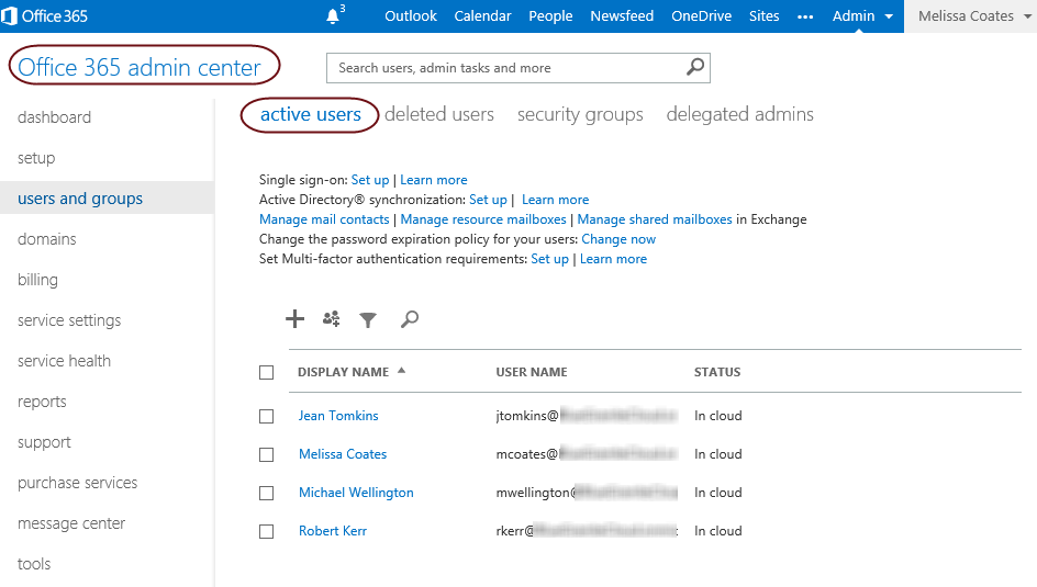 The Users and Groups page in the Office 365 Admin Center