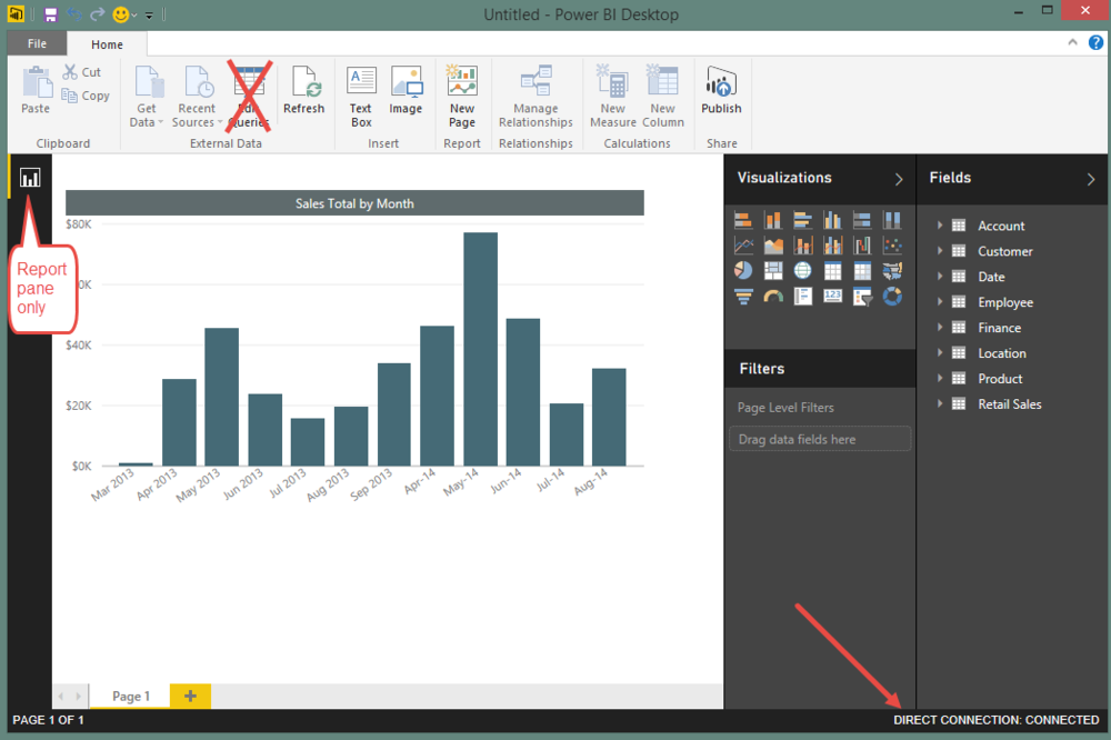 How the SSAS Tabular direct connection looks in Power BI Desktop