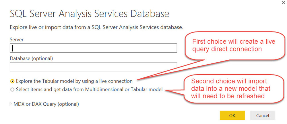 SSAS Choices in Power BI Desktop