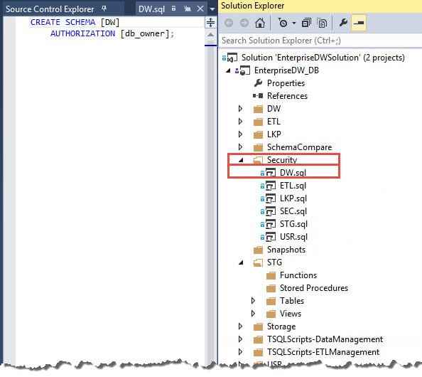Why you should use a ssdt database project for your data warehouse since the dimdate view resides in the dw schema the database project would do me the favor of generating an error if the dw schema didnt already exist ccuart Choice Image