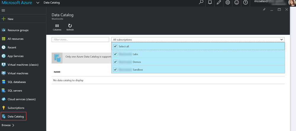ADCPage How to Create a Demo/Test Environment for Azure Data Catalog