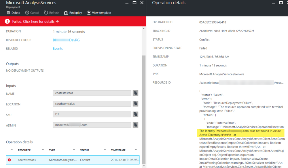 Resolving 'Identity Not Found' Error When Provisioning Azure Analysis Services