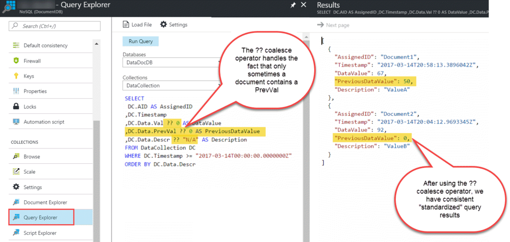 Querying Documents With Different Structures in Azure DocumentDB