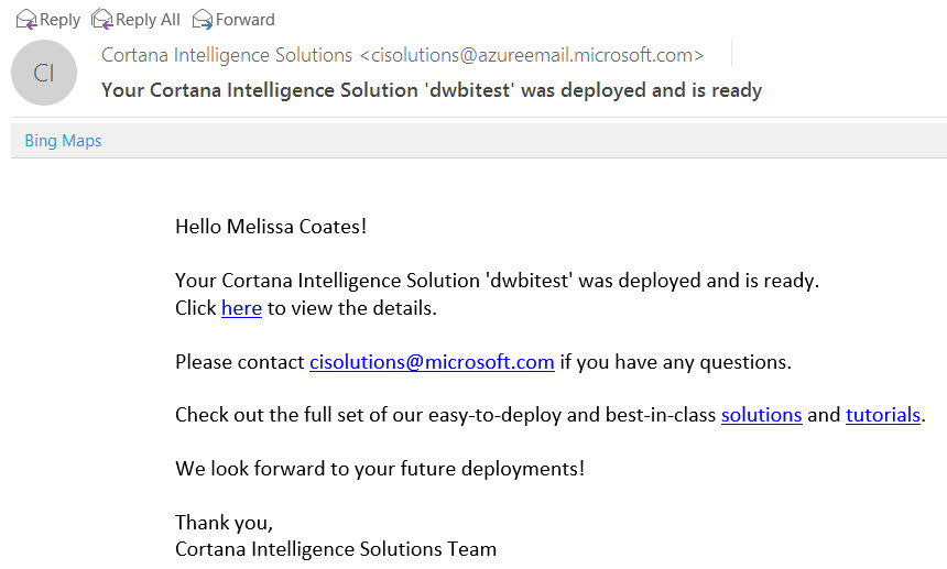 Deploying Solutions from the Cortana Intelligence Gallery
