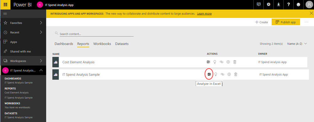 PowerBI AnalyzeInExcel Reusing Datasets Imported to the Power BI Service