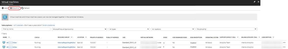 AzurePortal ColumnsDisplayed Displaying Columns of Metadata in the Azure Portal