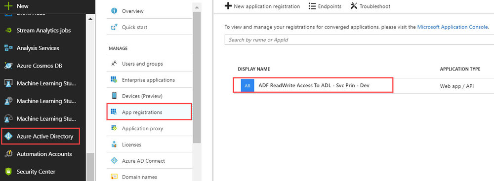AADAppRegistration Running U SQL on a Schedule with Azure Data Factory to Populate Azure Data Lake
