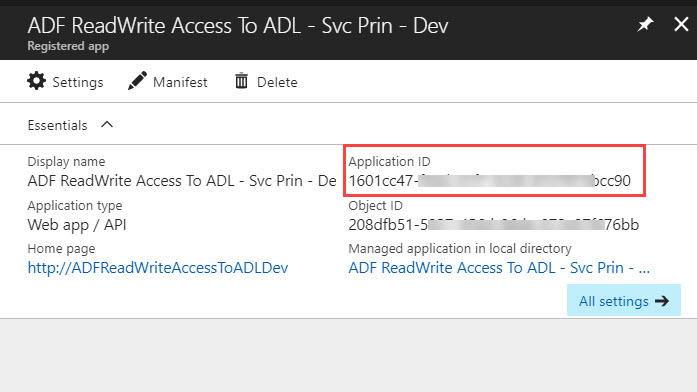AADApplicationID Running U SQL on a Schedule with Azure Data Factory to Populate Azure Data Lake