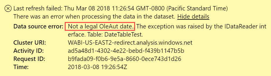 InvalidDates PowerBIErrorMessage Data Refresh Issues in the Power BI Service Due to Invalid Dates