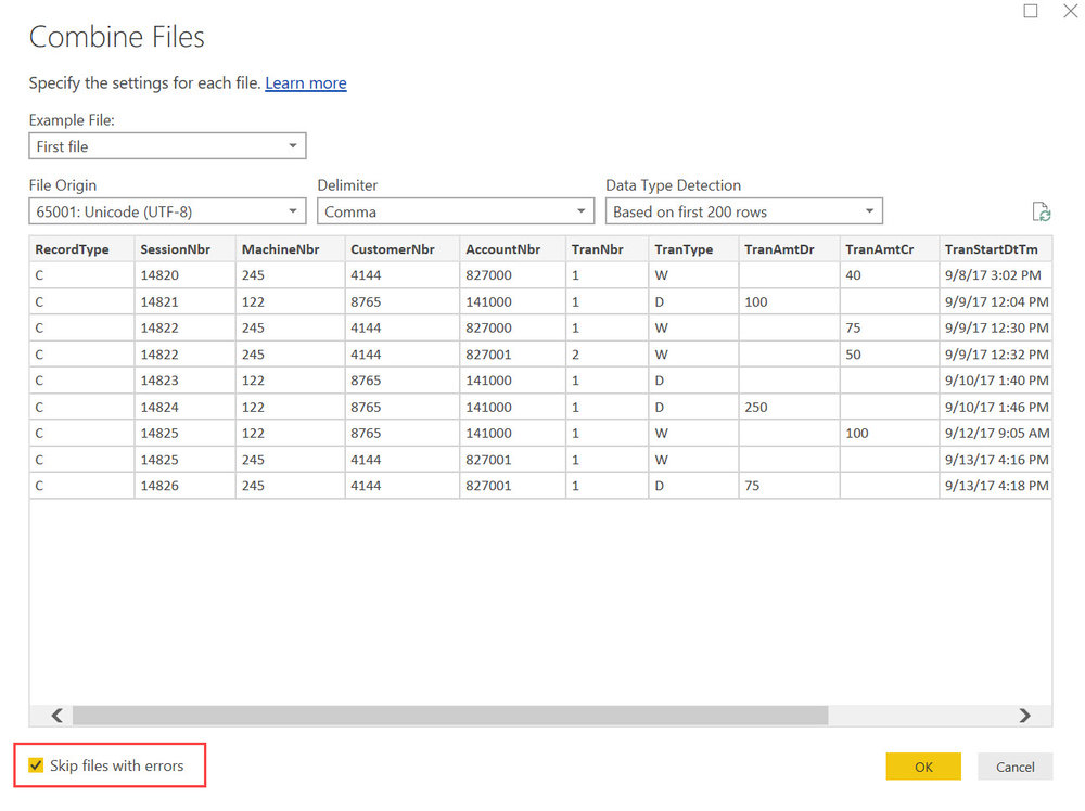 PowerBI ADLS CombineFiles3 Querying Data in Azure Data Lake Store with Power BI