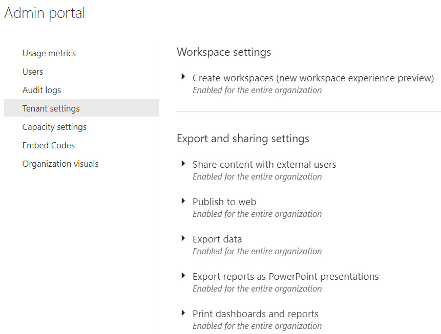 PowerBIAdminPortalTenantSettings How Permissions Work for a Power BI Service Administrator