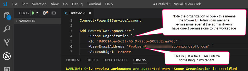 Add PowerBIWorkspaceUser How Permissions Work for a Power BI Service Administrator