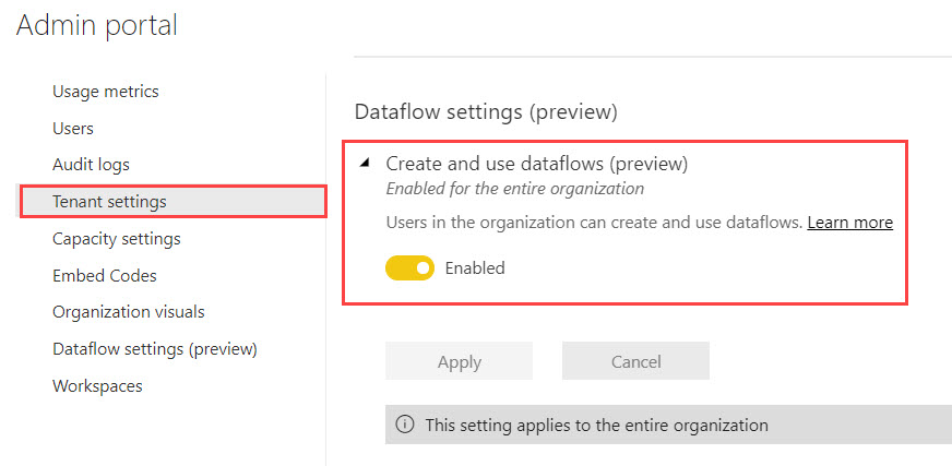 Dataflows TenantSettings Three Ways to Use Power BI Dataflows