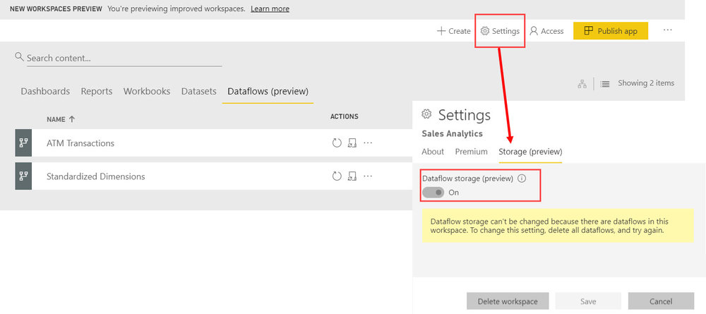 Dataflows WorkspaceStorageSetting Three Ways to Use Power BI Dataflows