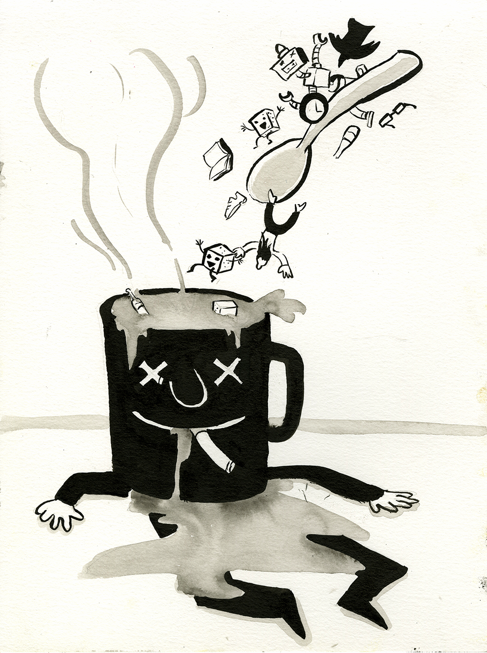 "a collection of ink drawings and washes from the daily project ""ink a day""."