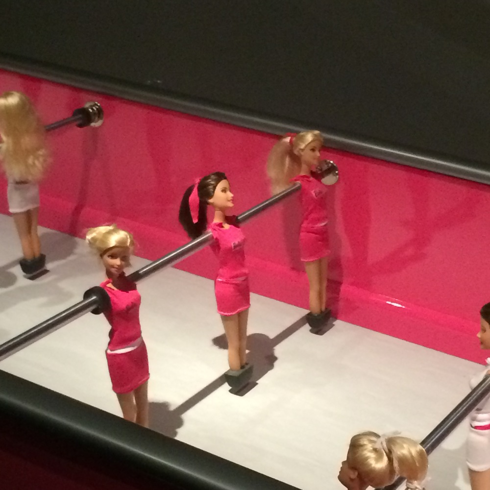 A particularly disturbing use of Barbies...for Foosball?!
