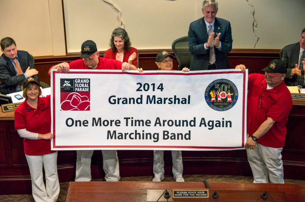 Unveiling our Grand Marshal banner at the Portland Mayor's office, Wednesday, May 7th, 2014.
