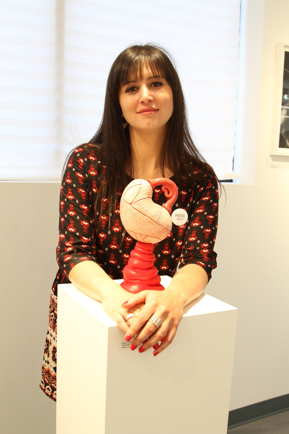 Phoebe Deutsch with her sculpture
