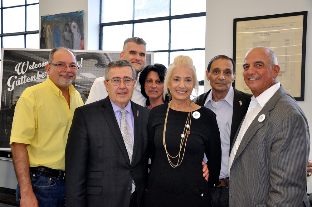 Dan and Sara Barteluce with the mayor and council members of Guttenberg NJ.