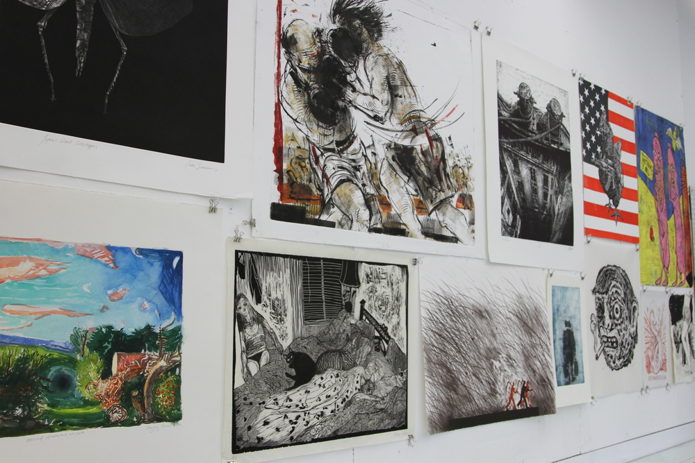 A selection of work from the artist community was hung in the studio space.