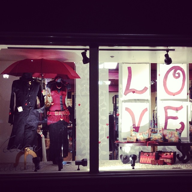 Valentines window for Nectar in downtown Santa Cruz, CA by JemInEye.