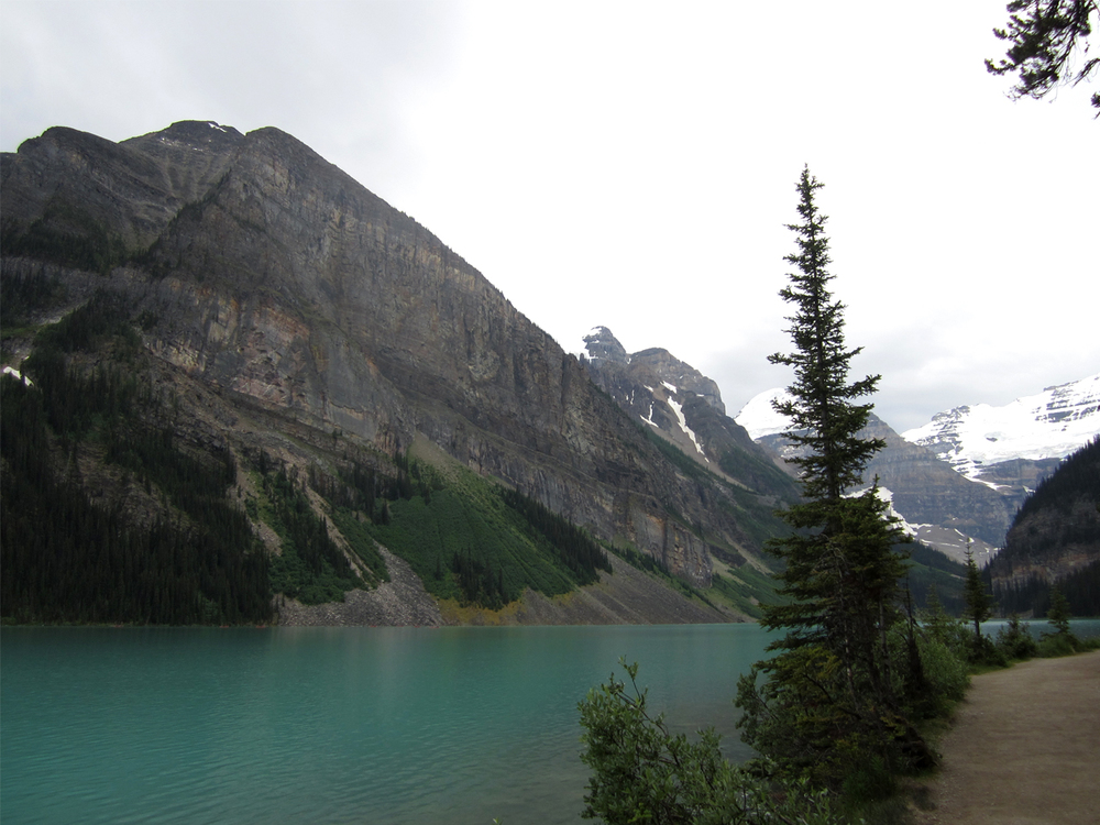 Rainy day in Lake Louise. The most beautiful and calming place.
