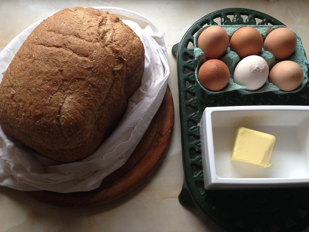 fresh bread and eggs from the cottage farm