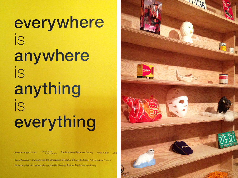 This exhibit by Canadian Artist and Author Douglas Coupland was all about taking everyday objects and seeing the artistic, graphic, historic and meaningful qualities they possess. An entire section was dedicated to Canadian objects and what makes them Canadian.