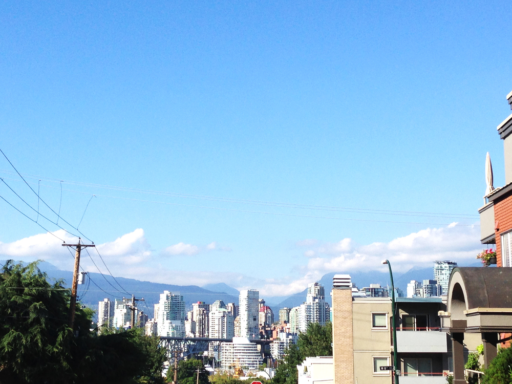 The view of downtown Vancouver from a street in Kitsilano. Wish I had this view out my window everyday.