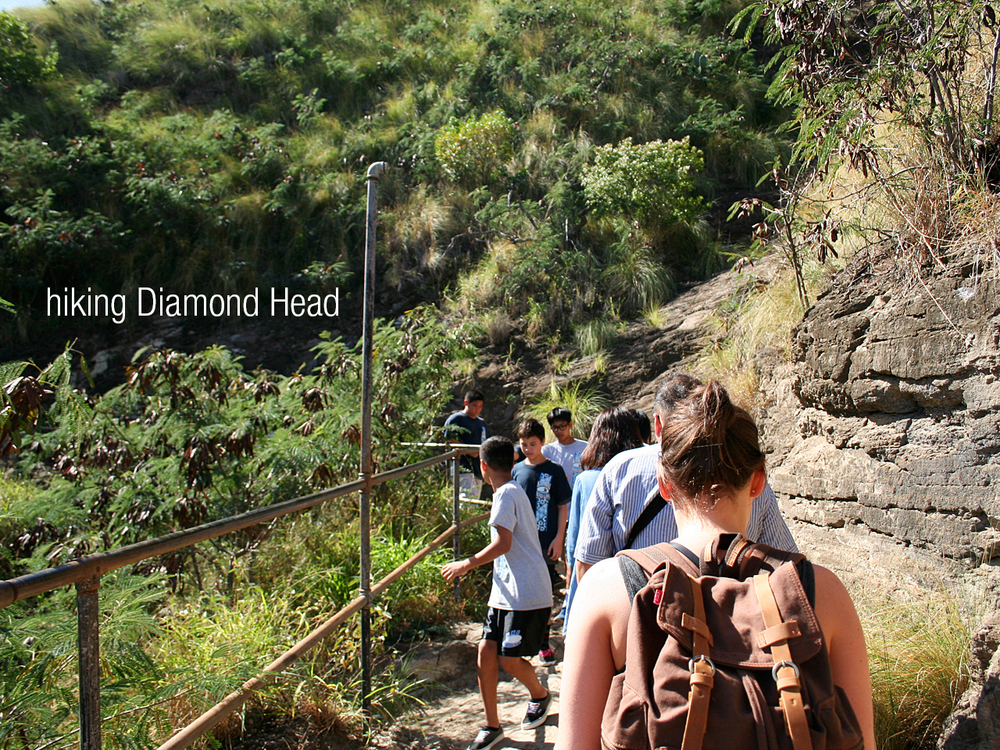 Our 2nd full day on the island we decided to make the hike up to the top of Diamond Head,  a large mountainous crater like form that was made from volcanic eruptions long ago. It was also used as a military fort throughout World War I because of it's great vantage point.
