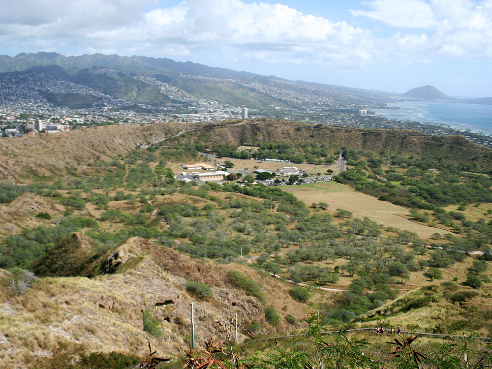 The inside of the Diamond Head crater
