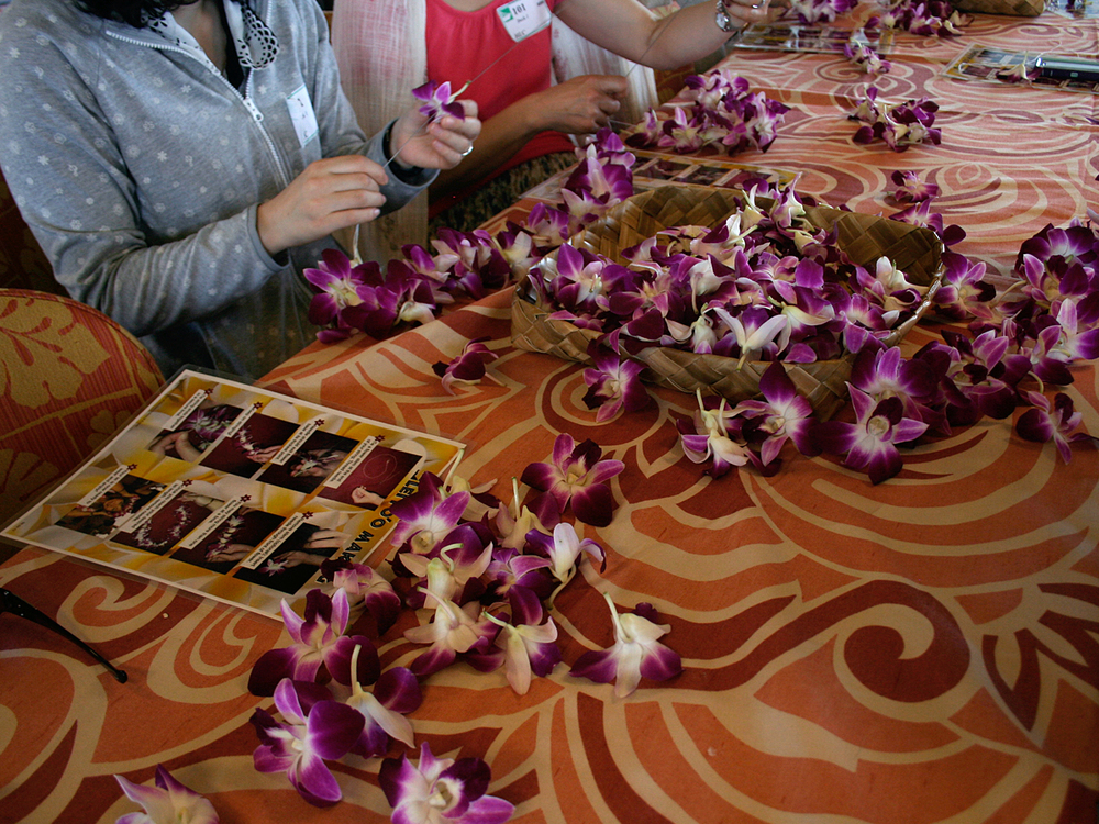 While the boat was coming into shore we made our own Hawaiian leis. I was pretty happy about it.
