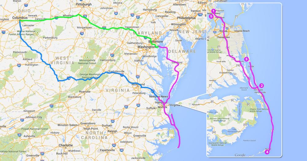 地图中的蓝线是我们第一天去宾馆的路线,粉色的线是游玩的路线,在Ourter Banks地区的放大图里,数字一次代表我们的游览顺序,之后回到Newport News,第三天开始依旧是粉线北上来到Annapolis吃晚饭,最后由绿线回到哥村。(地图点击放大)