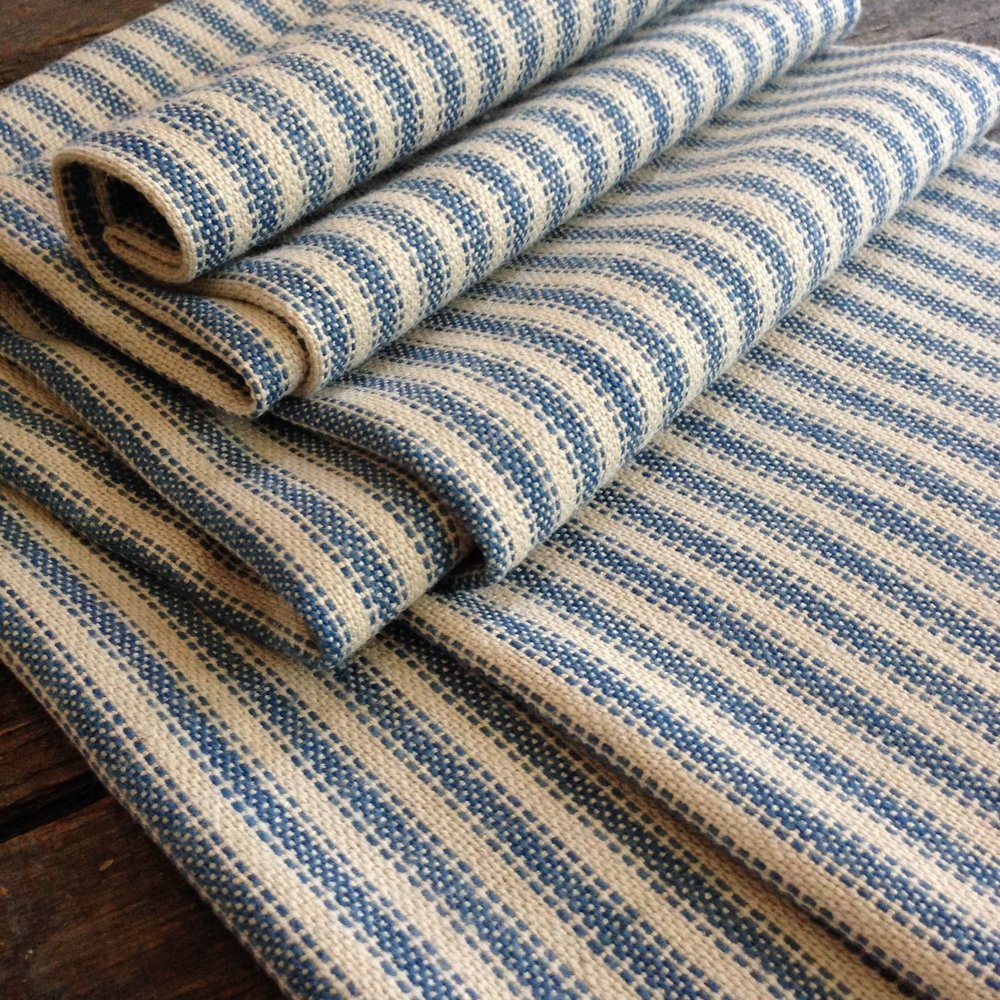French Ticking - Plain Weave Original Production: 2016 Organic linen/cotton, silk, hand dyed indigo Designed & Handwoven by Dani Ortman