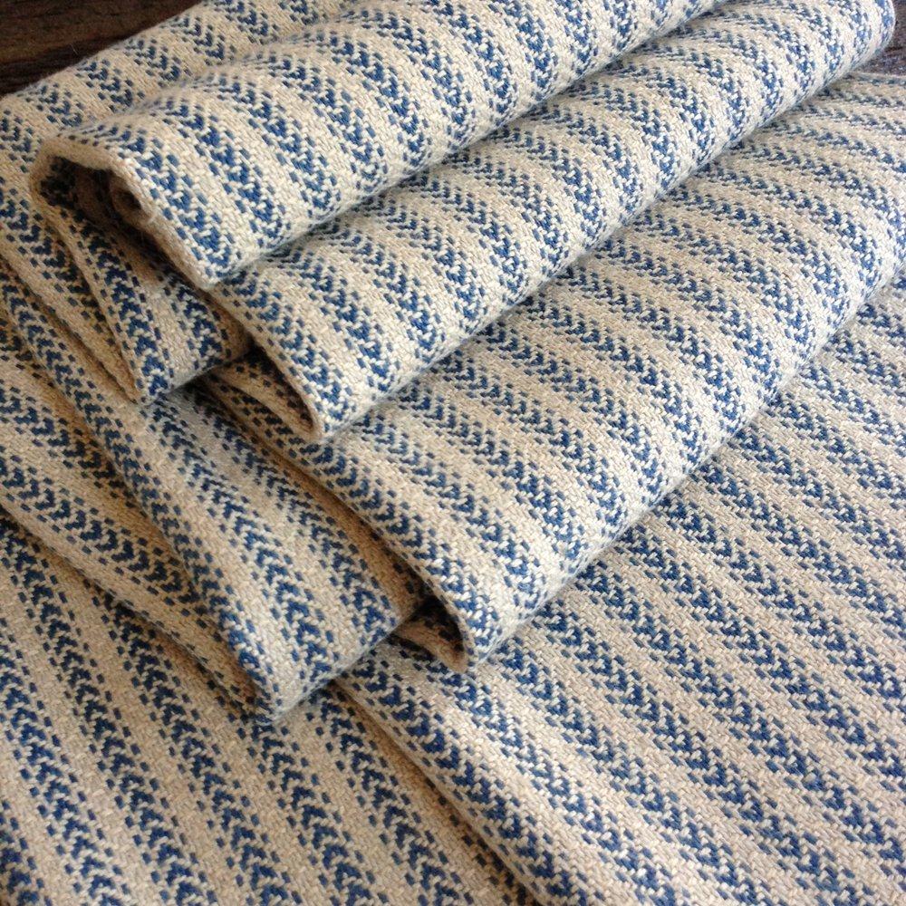 French Ticking - Twill Original Production: 2016 Organic linen/cotton, silk, hand dyed indigo Designed & Handwoven by Dani Ortman