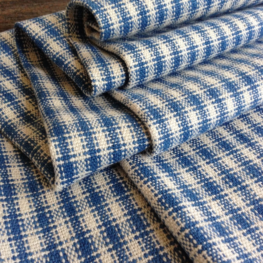 Gingham Original Production: 2016 Organic linen/cotton,hand dyed indigo Designed & Handwoven by Dani Ortman