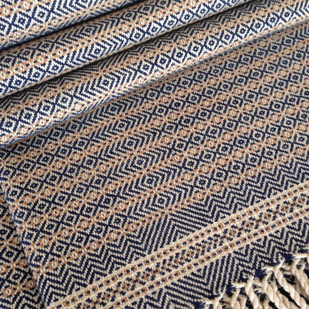 Blue Heron Original Production: 2015 - Variations: 2016, 2017 Tussah silk, Fox Fibre colour grown cotton, Organic cotton hand dyed with natural indigo Designed & Handwoven by Dani Ortman
