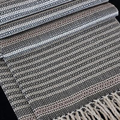 Oreo with Rare Mauve Original Production: 2016 Tussah Silk & GOTS Certified Organic Cotton, Pakucho colour grown rare mauve accents Designed & Handwoven by Dani Ortman