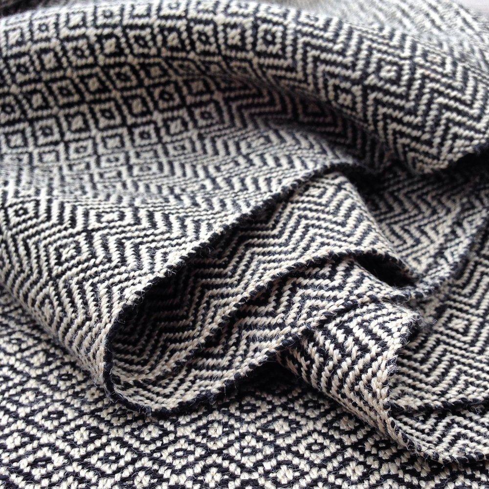 Silk & Linen Original Production: 2016 Tussah silk warp + linen weft Designed & Handwoven by Dani Ortman