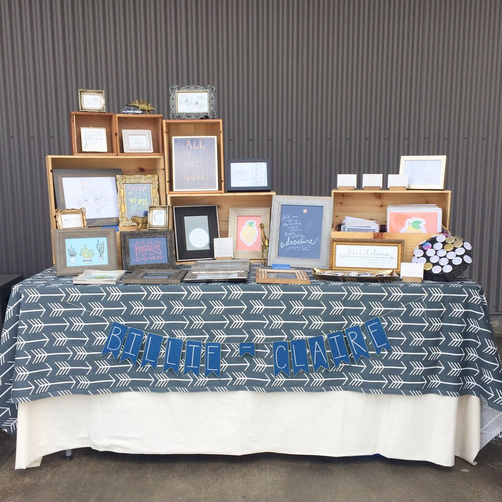 Outdoor set up at the Austin FLEA at NXNW Slaughter, June 2017.