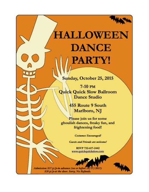 2015 Halloween Dance Party at Quick Quick Slow Ballroom Dance Studio - flyer