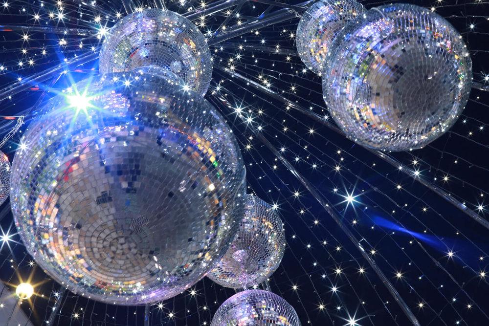 Mirror ball illumination. Winter Ball Dance Event concept