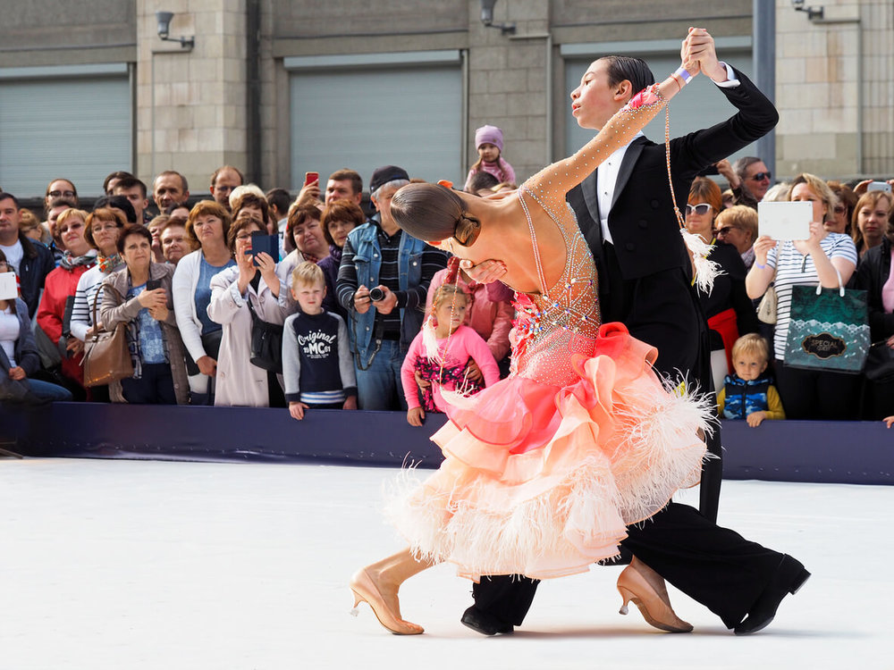 Couple dancing the traditional Viennese Waltz