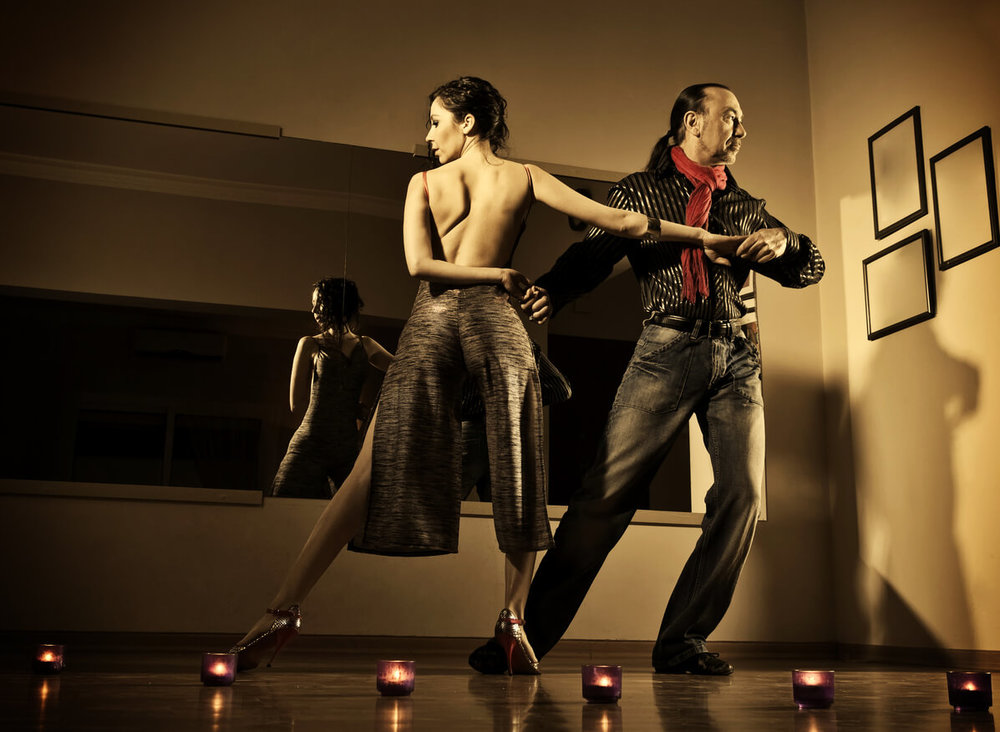 Argentine Tango Passionate couple dancing Argentine Tango in a dance studio