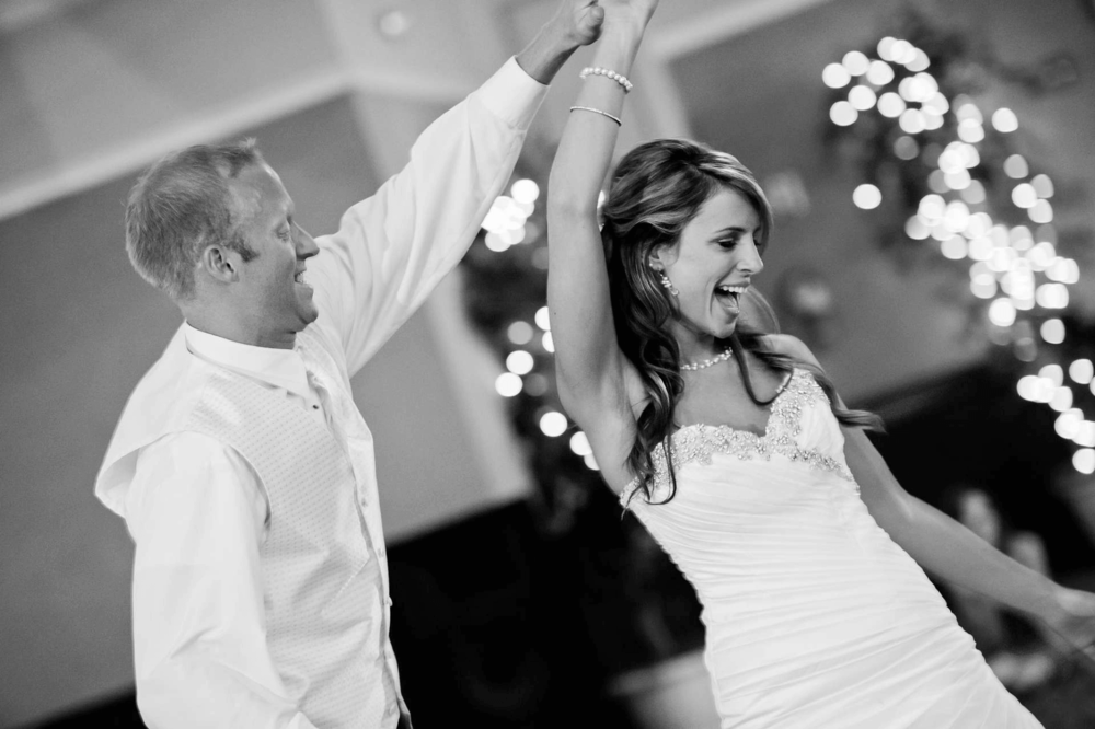 Just Married. Young happy couple dancing at their wedding day