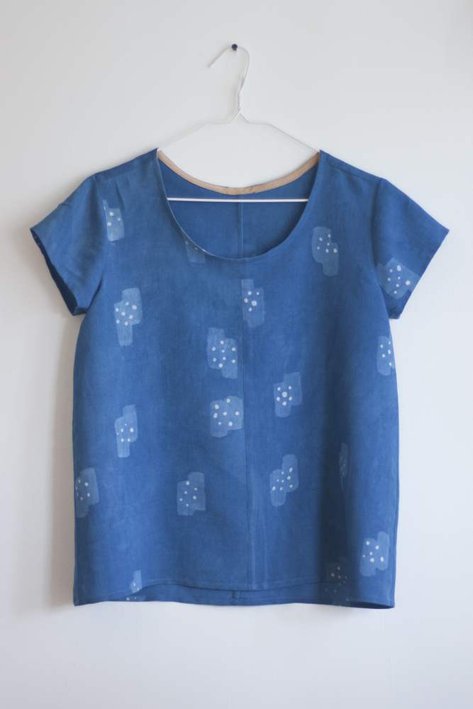 Indigo, Inko Resist  sewn into the  Grainline Scout Tee