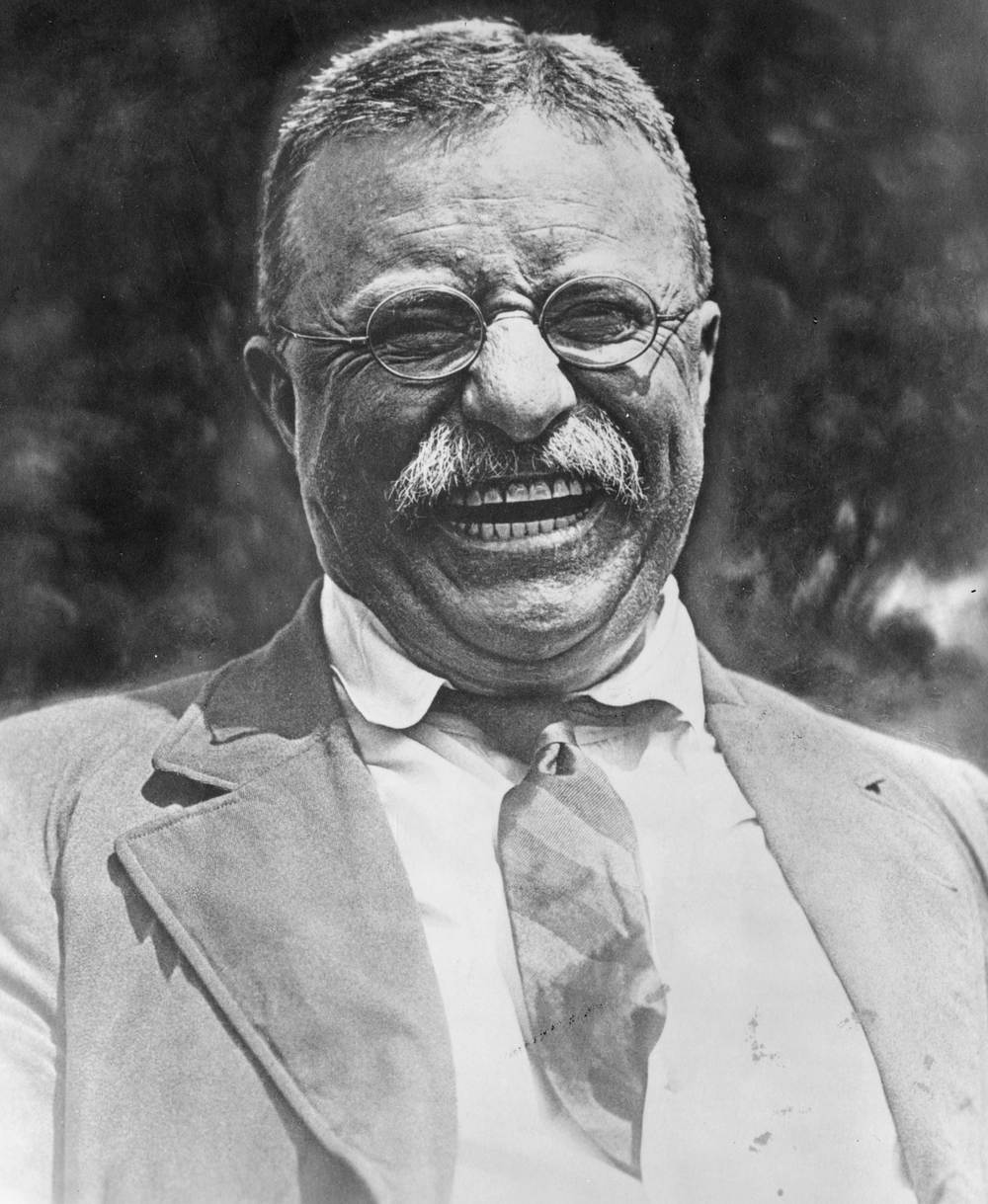 Theodore Roosevelt, laughing