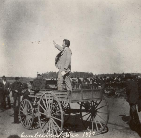 Speaking in Cumberland, Wisconsin, 1897