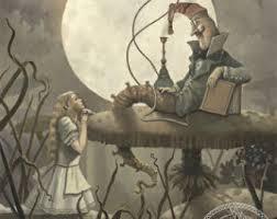 Alice and the Mushroom Scene, vintage.